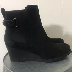 UGG Indra Black Wedge Bootie